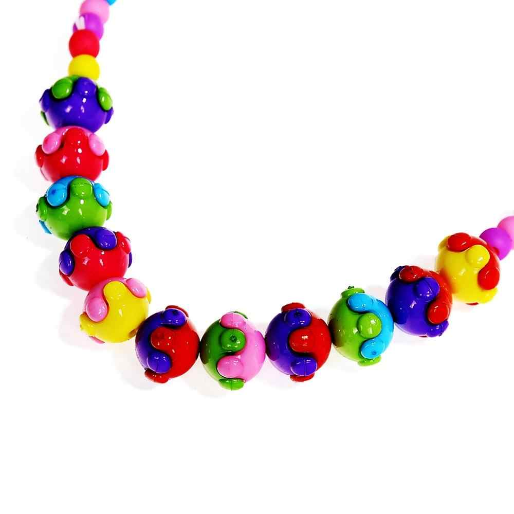 12 Colors Lovely Flower Necklace And Bracelet For Children Girls Kids Beads Jewelry Set For Birthday Party Gift