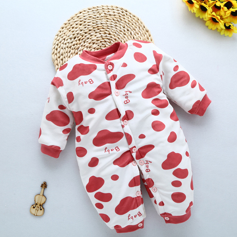 0 12M Baby Rompers Winter Warm Cotton Clothing Set for Boys Striped Pattern Infant Girls Clothes Newborn Overalls Baby Jumpsuit in Rompers from Mother Kids