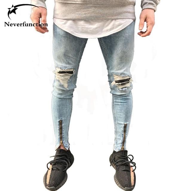 9259615b37 Neverfunction destruido hombres biker jeans stretch rodillas agujero diseño  Hip hop Skinny roto demin cremallera destruir