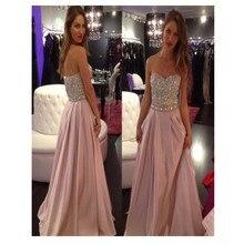 2016 Sparkly A-Linie Rosa lange Abendkleid mit Kristall Chiffon Kleid Abendkleid Vestidos De para festa Formatura Longo