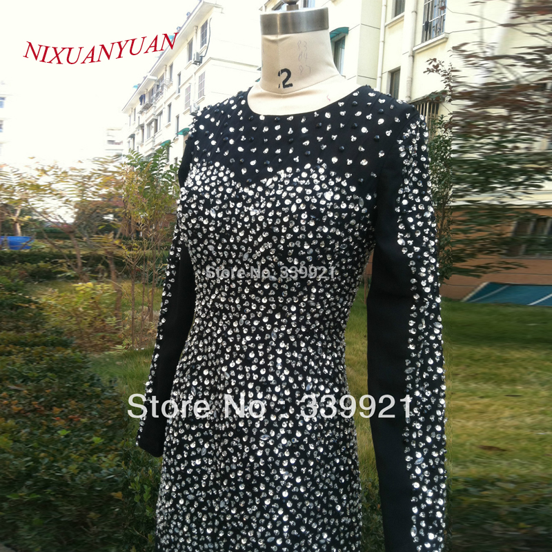 NIXUANYUAN Real Picture Hot Sale!Elegant Beaded Round Collar With Long Sleeve   Cocktail     Dress   2017 Sexy Short Prom Party Gowns
