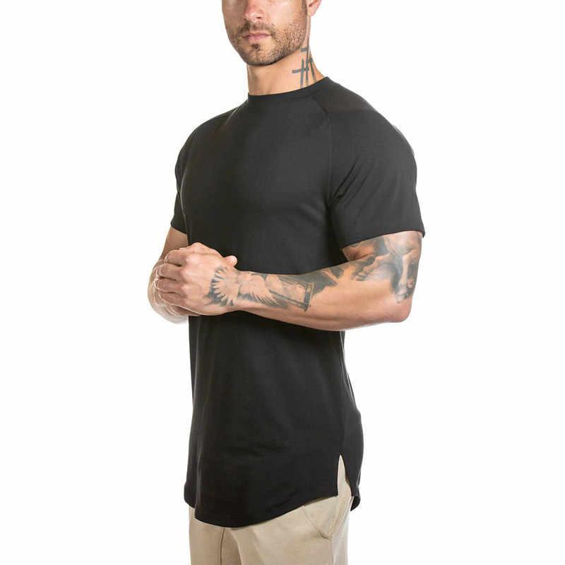 3b063aae Funny T-shirts Men T Shirts Curved Hem Long Line T-shirt Male Bodybuilding