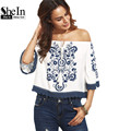 SheIn Womens Tops and Blouses For Summer Casual Ladies Blue Print in White Half Sleeve Tie Off The Shoulder Blouse