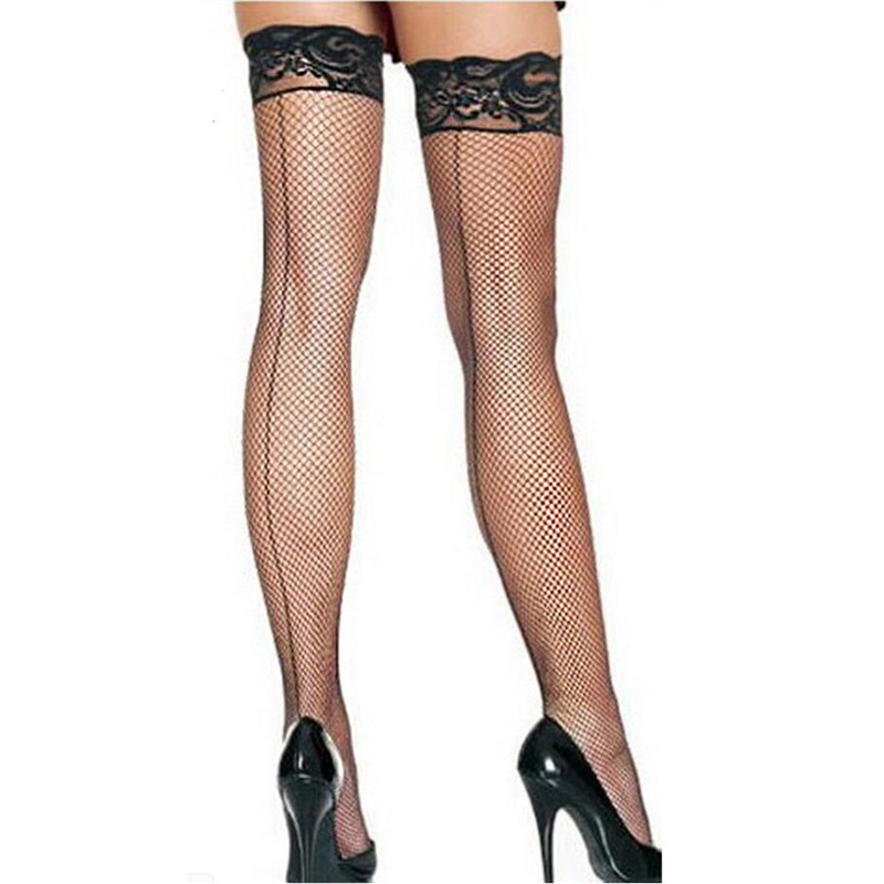 Sexy Women's Stockings Hollow Out Mesh Lace Top Party Thigh High Stockings Sexy Lingerie Hot Black Back Seam Fishnet Stockings