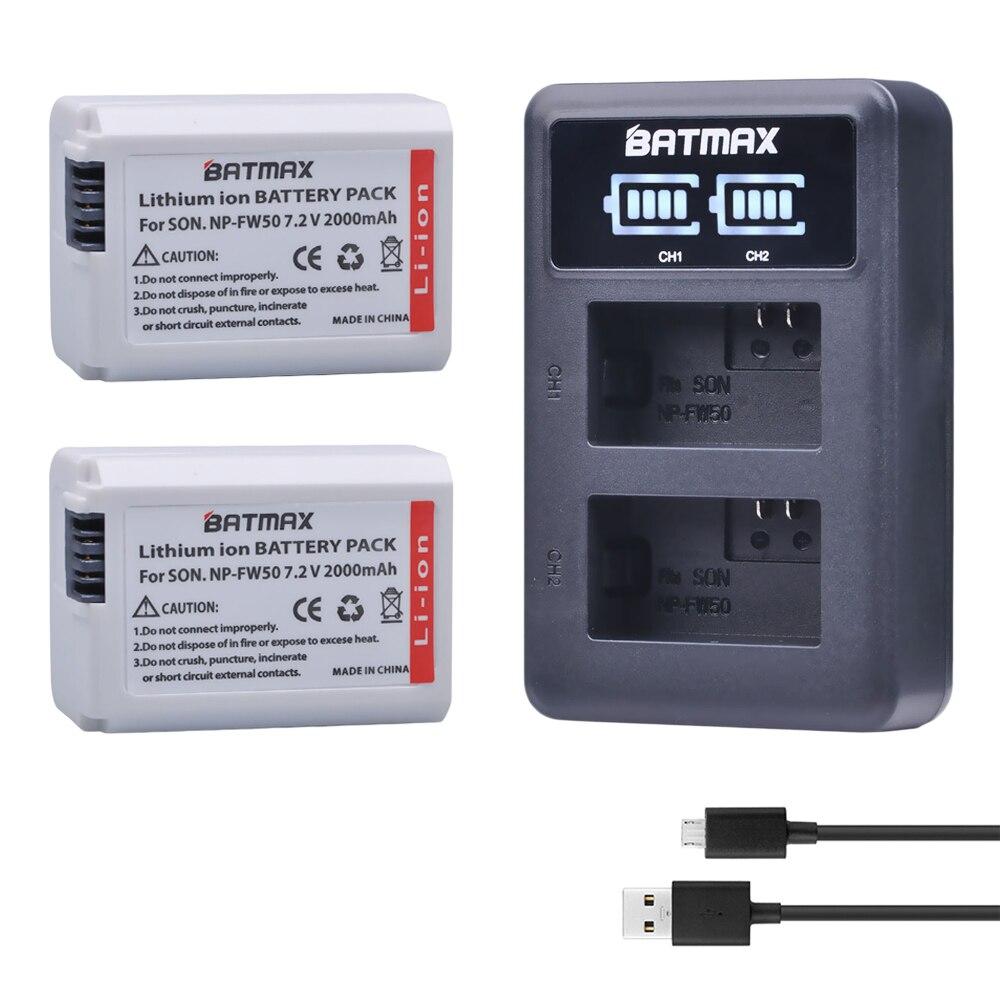 Batmax 2X2000 mAh 1500 mAh NP-FW50 NP FW50 batería de la Cámara + cargador Dual LED para Sony Alpha 7 a7 7R a7R 7 s a7S a3000 a5000 a6000