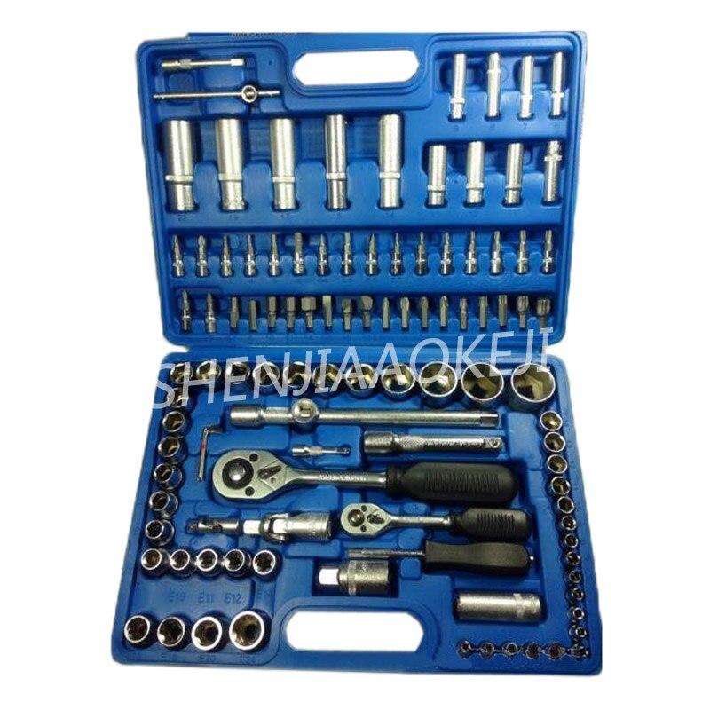 108 pièces/ensemble manches outil de réglage Combinaison outil clé à douille chrome vanadium acier Auto voiture outil de réparation