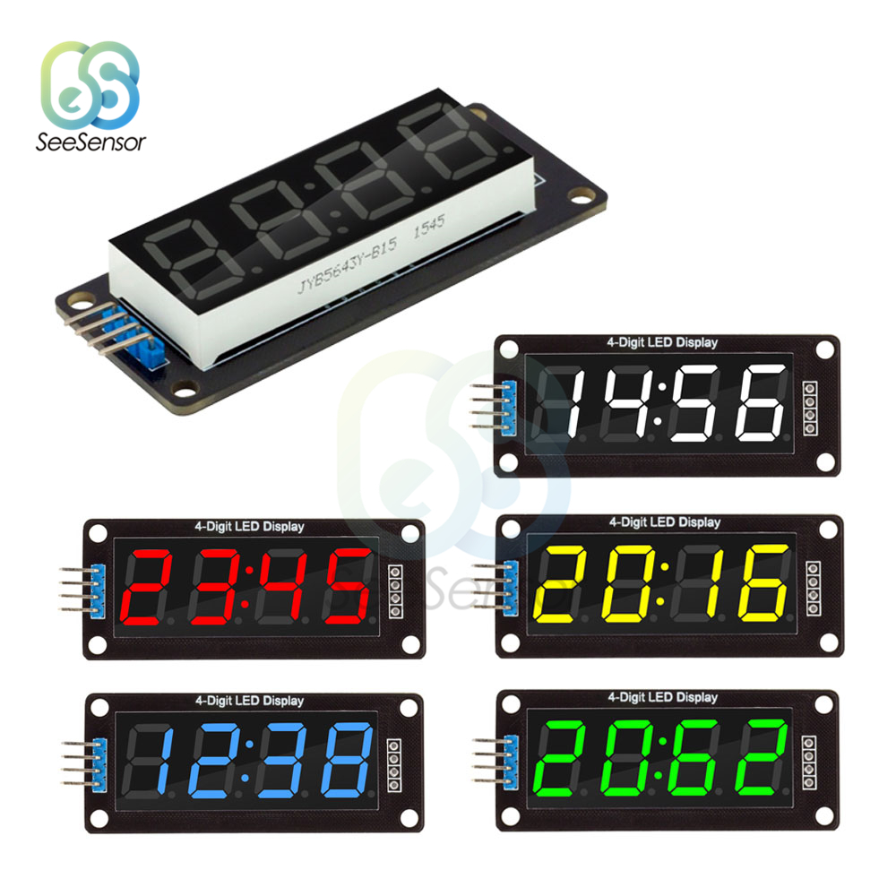 "TM1637 0.56"" 0.56 Inch 4-Digit Digital Clock LED Display Tube 7 Segments LED Clock Double Dots Module For Arduino"