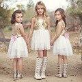 Девушки Одеваются 2017 Новая Девушка Мода Белый Блестками Тюль Партии летние платья для детей девушки 3-11 лет
