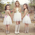 Girls Dress 2017 New Girl Fashion White Sequined Tulle Party summer dresses for kids girl 3 to 11years old