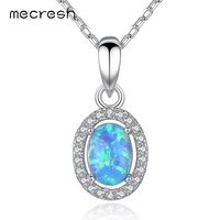 Mecresh 925 Sterling Silver Oval Opal Pendant Necklace For Women Fashion CZ Collares Jewelry Classic European
