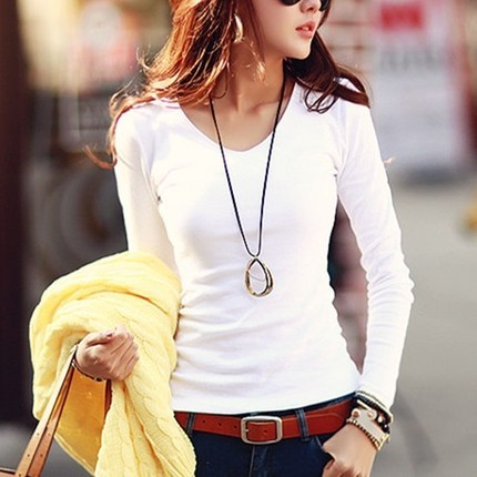 Ladies Casual Cotton T-shirt  V-Neck & Long Sleeves