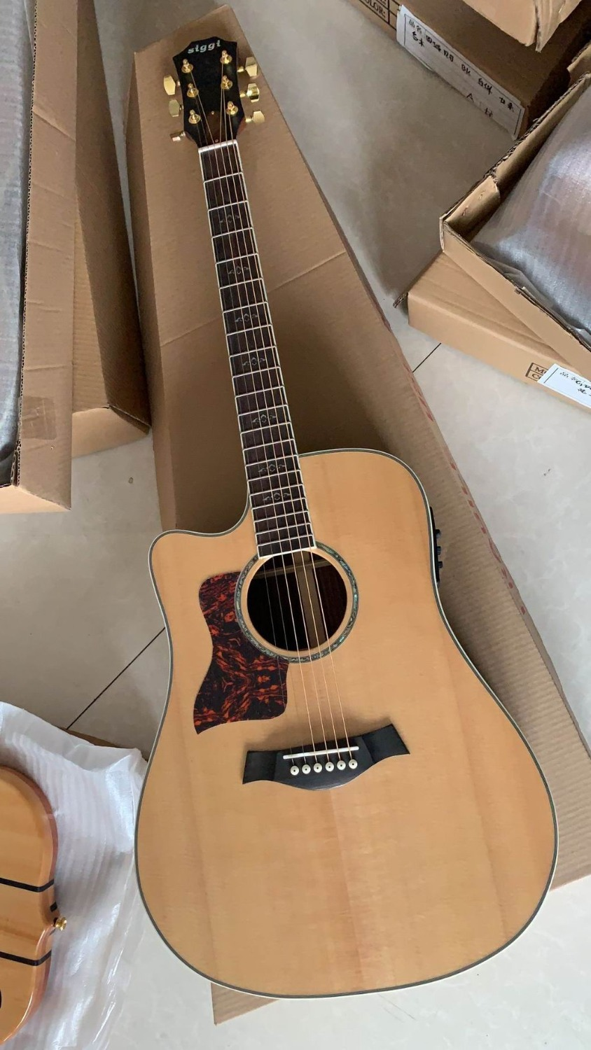 Free Shipping New Left Handed Electric Acoustic Guitar 914ce Model Fishman301 Pick ups In Natural 181217