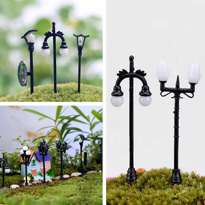 Garden miniatures mini street lamp fairy moss terrariums desktop bottle garden resin crafts