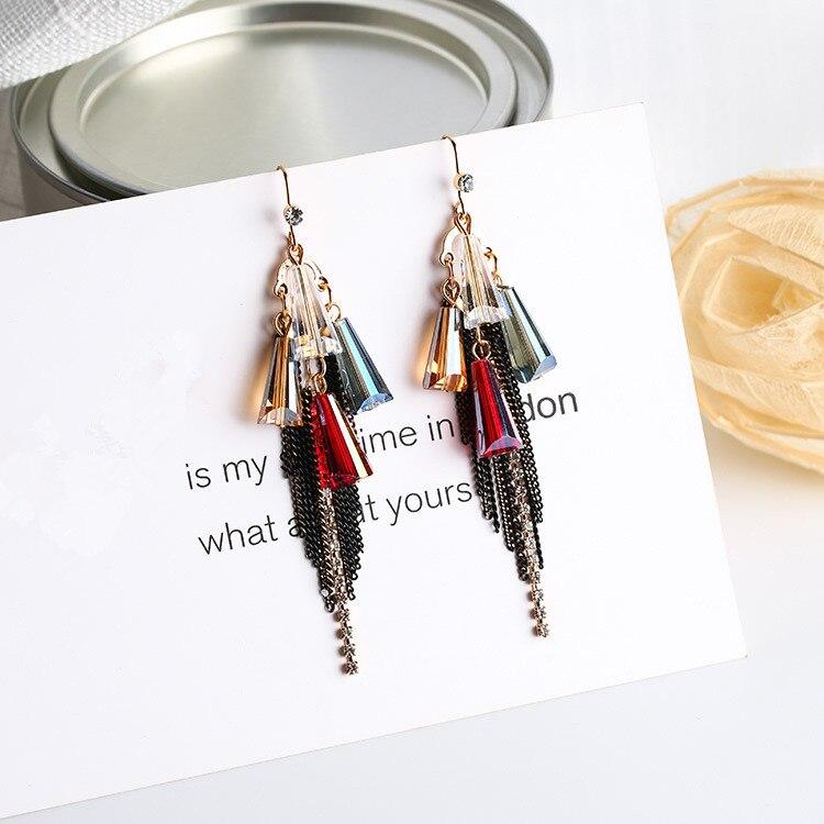 2017 Neue Koreanische Multielement Vintage Ohrringe Bunte Geometrie Kristall Quaste Ohrringe Boucle D'oreille Ethnique Sparen Sie 50-70%