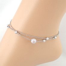 Fabulous Diomedes Frosted Double Chain Large Ball Anklet Bracelets Sandal Beach Foot Jewelry Jun23