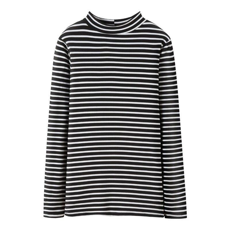 2018 осень DN Большие размеры повседневные хлопковые утепленные женские рубашки Длинные рукава футболка в полоску женские 8C16