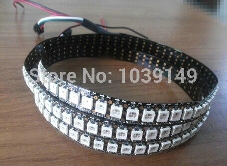 Dc5v noir pcb 5050 smd rgb ws2812b 144 pixel/m pixel led bande, 1 m/lot, ruban à led numérique programmable, livraison gratuite