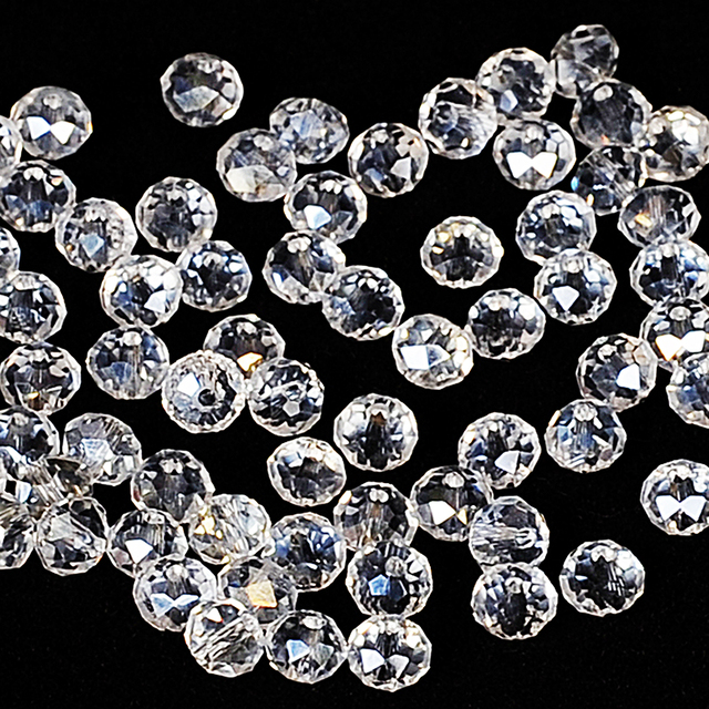 White AB Colors 4 6mm 100pcs Rondelle Austria faceted Crystal Glass Beads  Loose Spacer Round Beads for Jewelry Making 92faba9d90ad