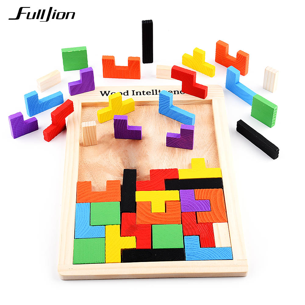 Fulljion Puzzle Games Math Toys For Children Model Wooden Learning Education Montessori 3D Puzzle Jigsaw Teaser Children Cubes