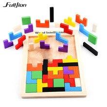Fulljion головоломки игры математические игрушки для детей модель деревянный обучения образование Монтессори 3D головоломки детские кубики