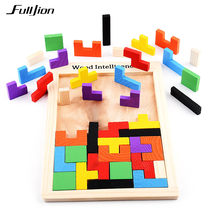 b2e3e5b66c54 Fulljion juegos de rompecabezas juguetes para niños de madera Modelo de  Educación de aprendizaje Montessori 3D