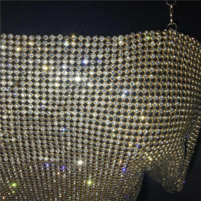 98b77d27 ... Women Sexy Crop Top Backless Bling Metallic Sequin Shiny Gold Tank Top  Vest Rhinestone Night Club