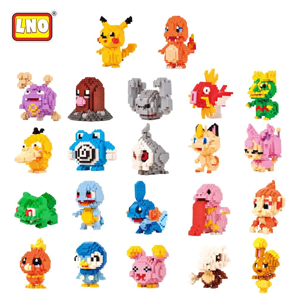 LNO New Arrival 22 Styles Kawaii Anime Cartoon Pikachu Diamond font b Block b font Plastic