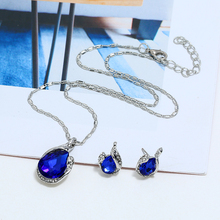 WNGMNGL Europe And America Silver Crystal Blue Stone Pendant Necklace For Women Fashion Long Necklace Set 3pcs/Set Jewelry