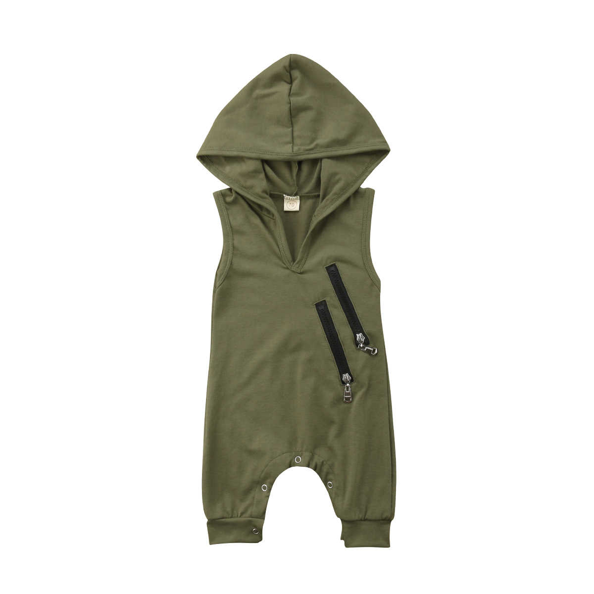 2ea5b619958 Newborn Toddler Baby Boys Girls Army Green Color Sleeveless Hooded Romper  Jumpsuit Outfit Fashion Style