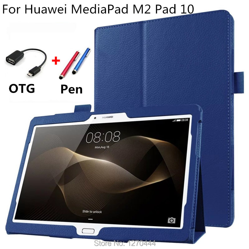 For HUAWEI Litchi skin Leather stand smart case cover capa para For Huawei MediaPad M2 10