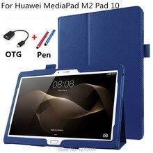 Para huawei litchi soporte de cuero elegante de la piel case cubierta capa para para huawei mediapad m2 10.0 m2-a01w a01l a01f tablet pc + cable de otg + pen