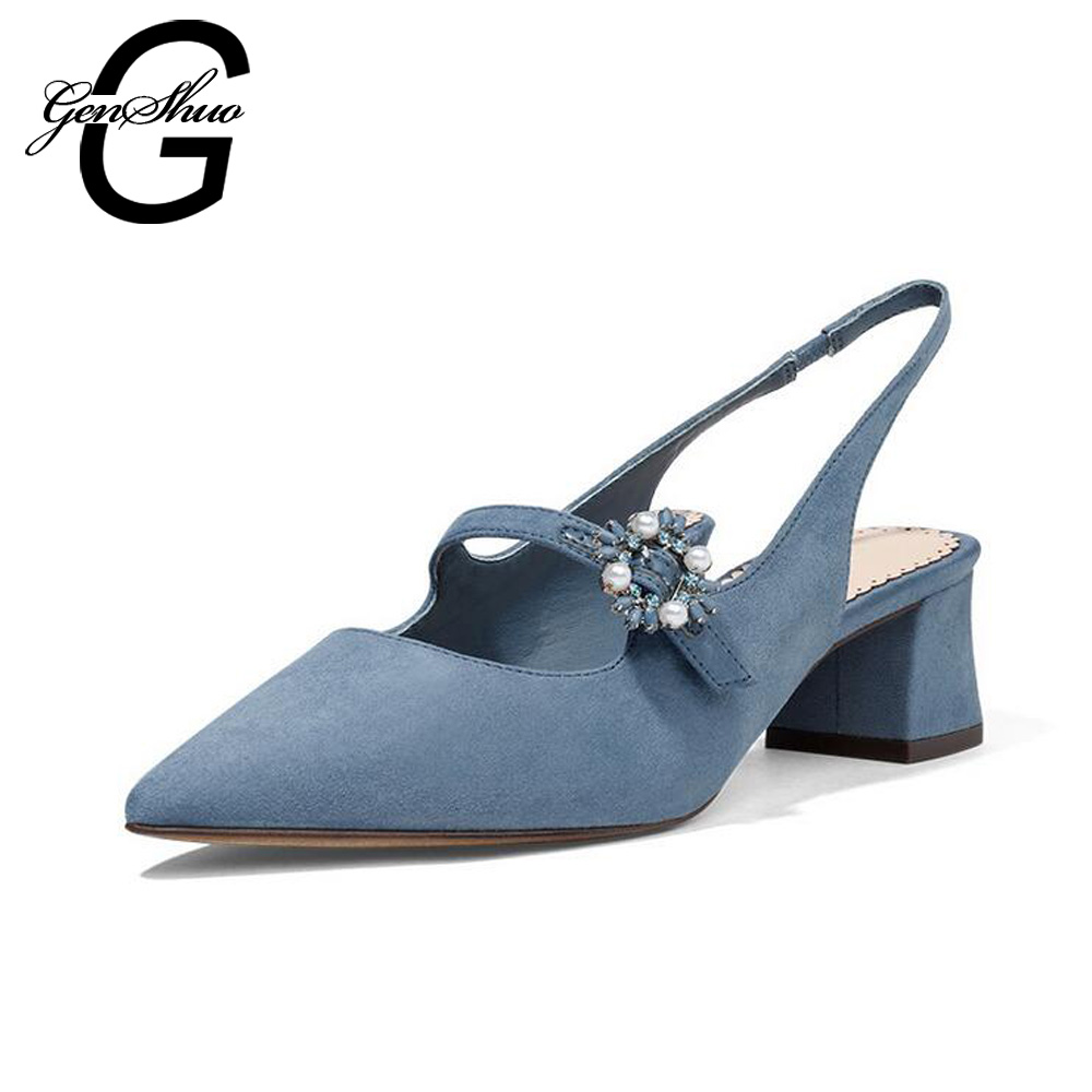 New 2017 Spring Fashion Shallow Thick Heels Pumps Pointed Toe High Heels Wedding Shoes Woman Flock Sexy Elegant Pumps Hot Sale 2017 new fashion spring ladies pointed toe shoes woman flats crystal diamond silver wedding shoes for bridal plus size hot sale