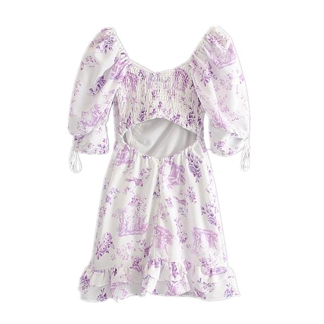Floral Print Puff Sleeve Dress 2
