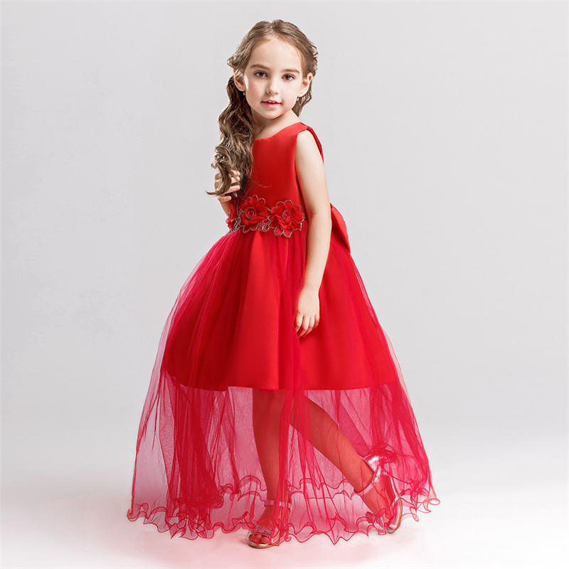 2017 Girls Princess Dresses Kids Bridesmaids Clothes Long Dress Children Red Prom Dress for Party and Wedding 4 5 6 7 8 9 10 Yrs цена