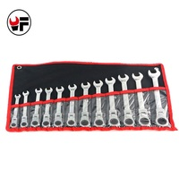 8 19MM The Key With Combination Flexible Ratchet Wrench Auto Repair Hand Tools 12PCS Reversible Ratchet
