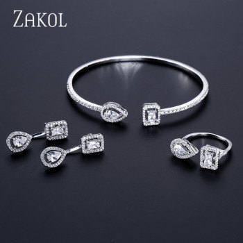 ZAKOL Brand Fashion Design Jewelry Set Sparking CZ Stone Earrings Bracelet & Bangle Ring For Women 1