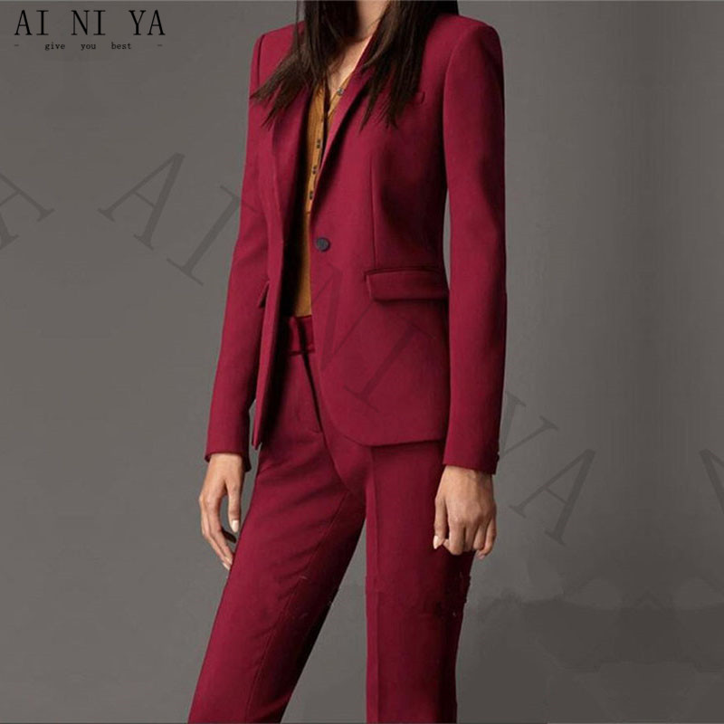 Jacket+Pants Women Business Suits Wine Red Single Breasted Female Office Uniform Evening Formal Ladies Trouser Suit Custom