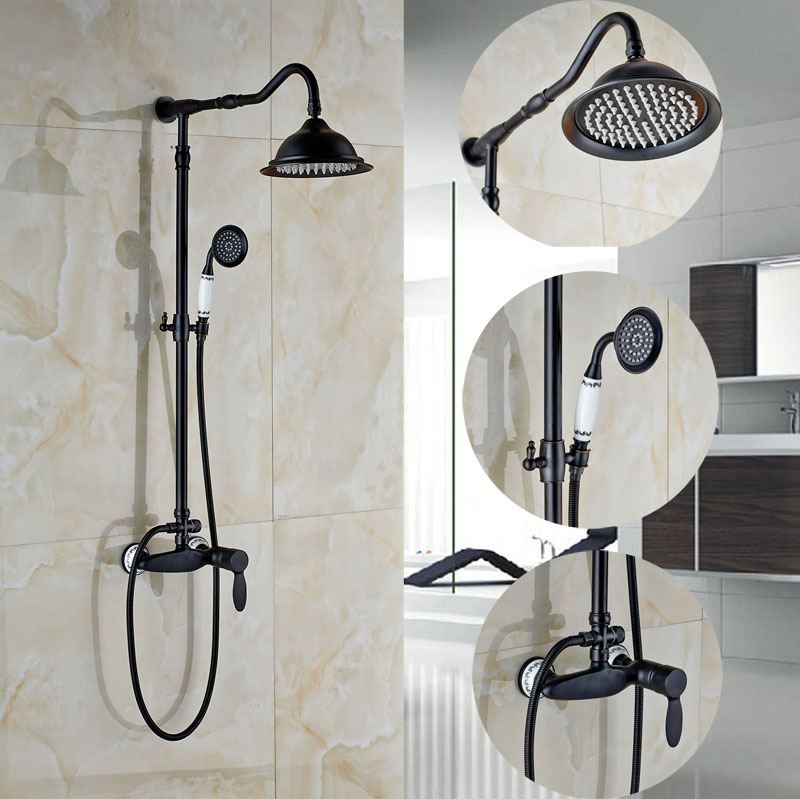 Wall Mounted Oil Rubbed Bronze Shower Faucet Set Single Lever W/Hand Sprayer Rainfall Shower MIxer Faucet