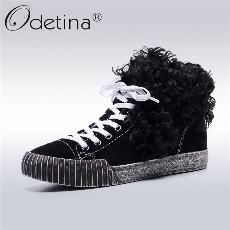Odetina 2017 Fashion Genuine Leather Women Lace Up Ankle Boots Flat Booties Winter Warm Thick Fur Wool Blend Shoes Big Size 43 front lace up casual ankle boots autumn vintage brown new booties flat genuine leather suede shoes round toe fall female fashion