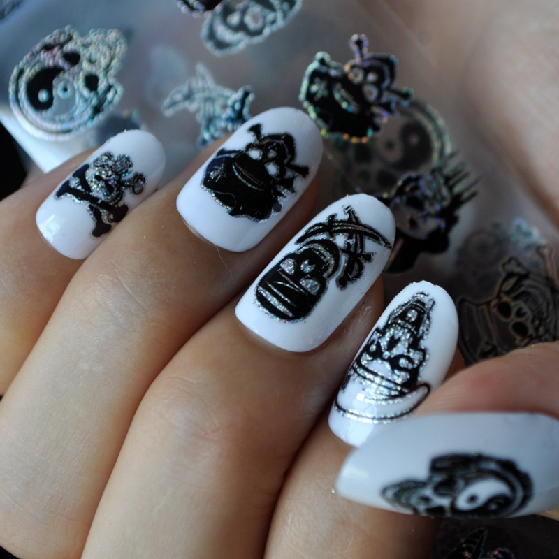 1pc Laser Skull Halloween Nail Stickers Decals Mixed Style ...