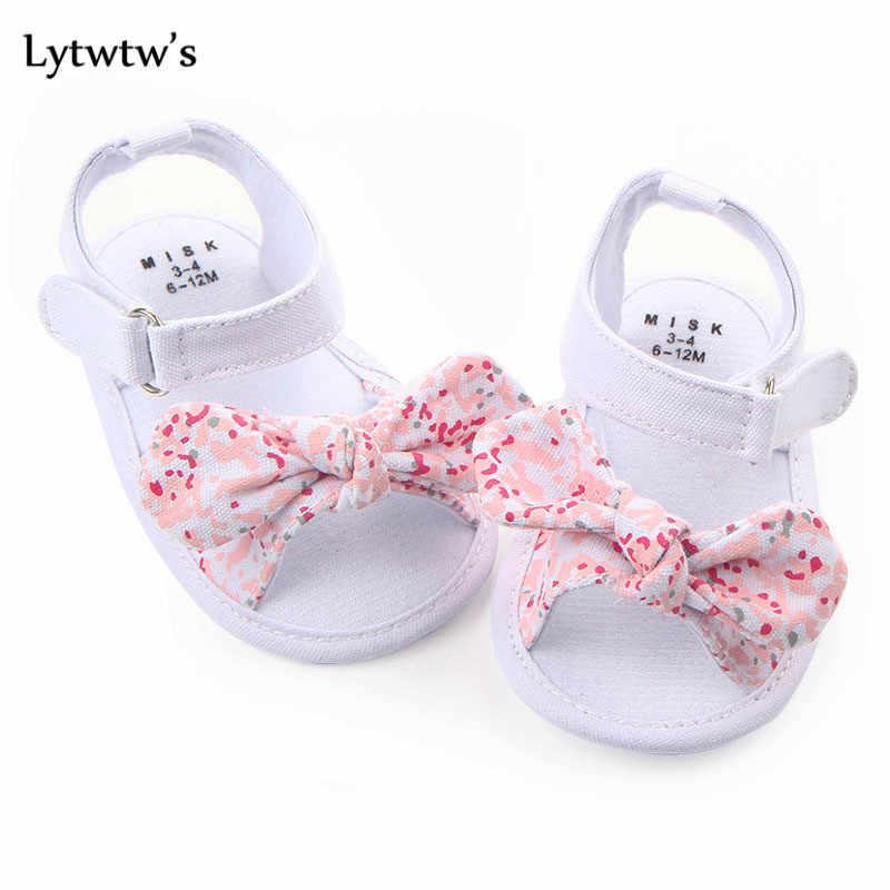 1 para Lytwtw's dzieci dziecko dzieci chłopcy dziewczęta buty antypoślizgowe płótno Bowknot maluchy noworodka Infantil sandały