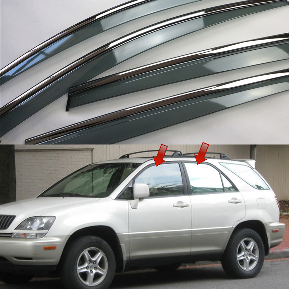 For Lexus RX XU10 RX300 1999 - 2003 ( Toyota Harrier ) Window Sun Rain Visors Vent Shade Deflector Guard Weather Shield