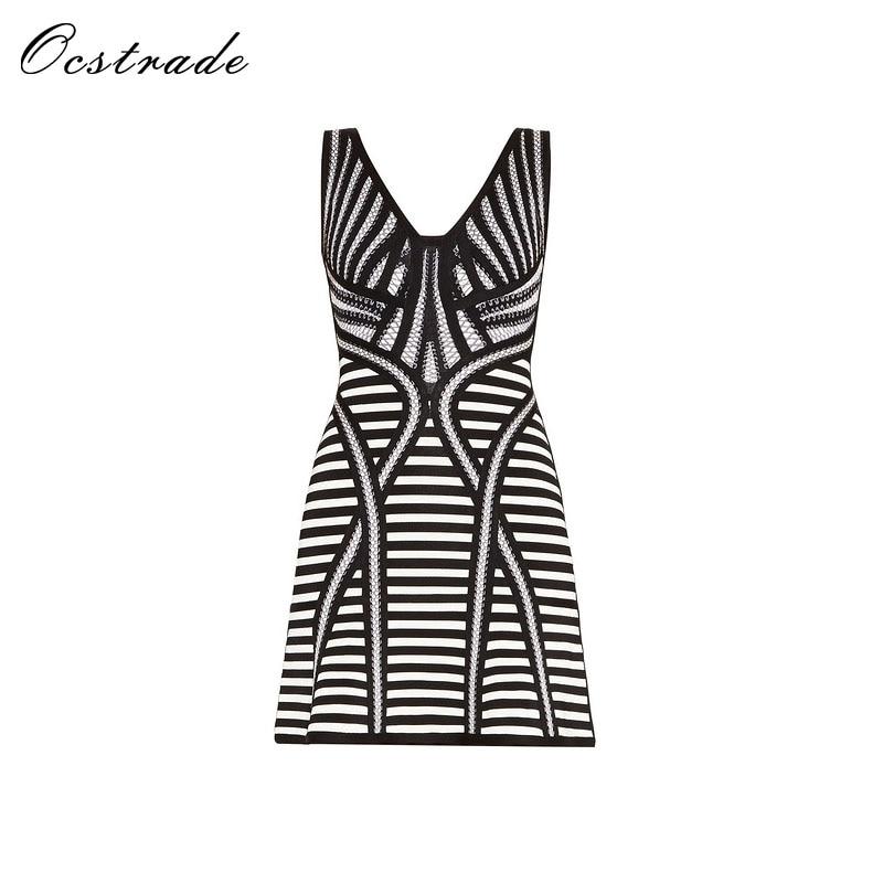 Ocstrade New Women HL Bandage Dress 2017 Sexy Deep V Neck Sleeveless A Line Black Bodycon Bandage Dress Mini Wholesale цена