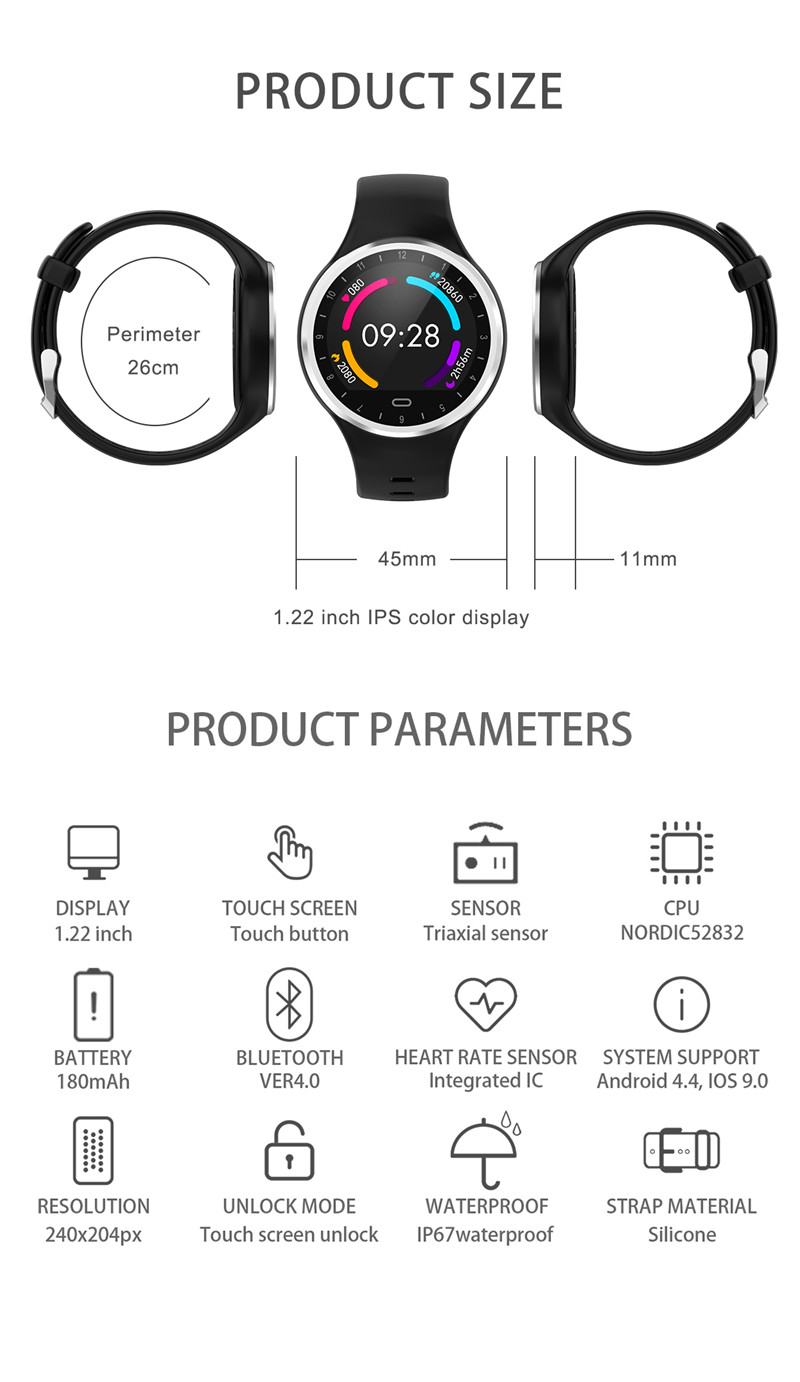 Csuneel M8 Pink Cute Smart Watch Women Sport Sleep Calories Record Blood Pressure Heart Rate Monitoring Smartwatch IOS/Android