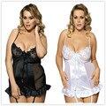 Europa y Los Estados Unidos de las mujeres ropa interior exótica negro y blanco dos de talla grande de emulación de seda de encaje liguero con vestido del sueño