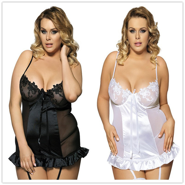 Europe and  United States women's lingerie exotic black and white two plus-size emulation silk lace garter belt with sleep dress