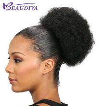 Brazilian Afro Kinky Curly Ponytail For Women Natural Black Remy Hair Clip In Ponytails Drawstring 100% Human Hair Extension(China)