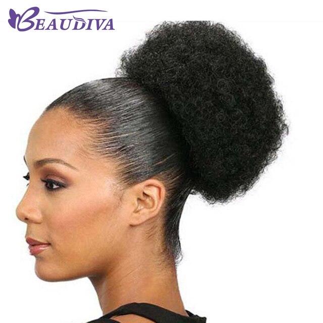 Pelo brasileño Afro rizado Cola de Caballo para mujeres Natural negro Remy Clip en cola de caballo cordón 100% extensión de cabello humano