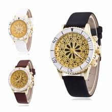 1 pc 2017 nova moda de Quartzo relógios de Pulso Das senhoras das Mulheres relógios de pulso relógios horas oco out flor dial pulseira de couro de presente X3