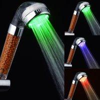 Promotion LED Shower Head Sprinkler Negative Ions Anion Temperature Sensor RGB Color